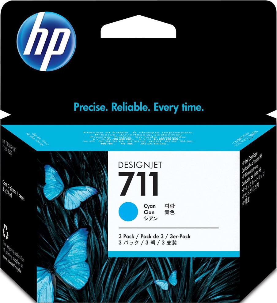 Картридж HP 711, голубой, для струйного принтера, оригинал