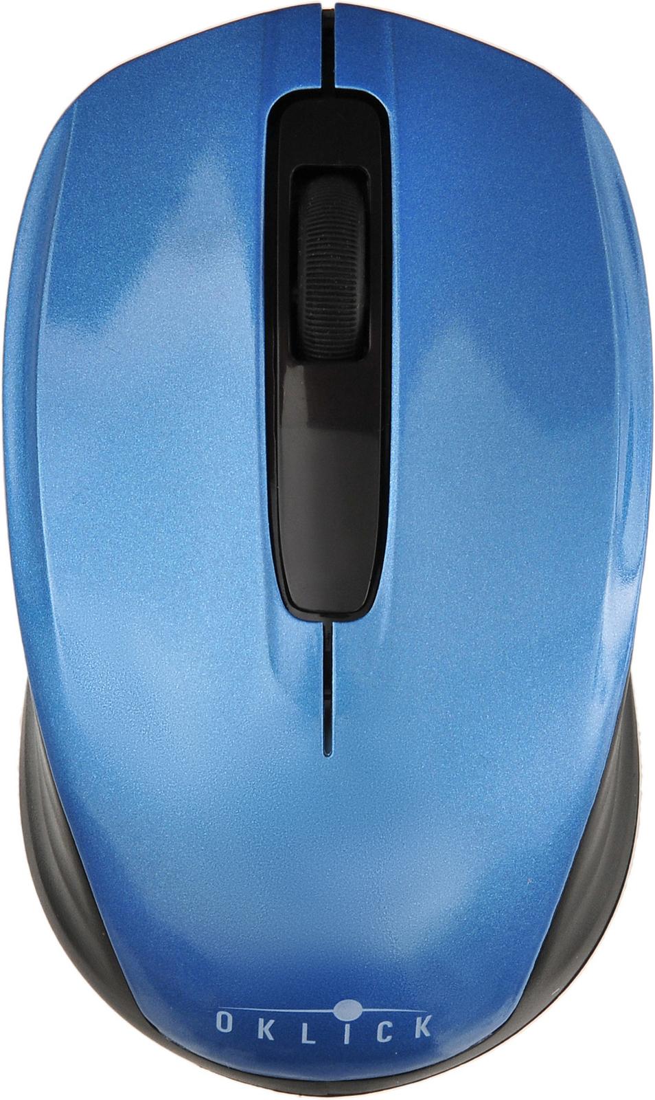 Мышь Oklick 475MW, черный, синий мышь беспроводная oklick 525mw красный