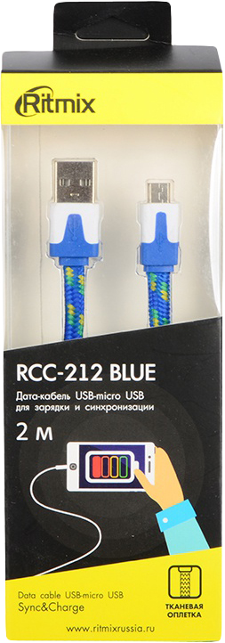 Кабель Ritmix MicroUSB-USB RCC-212, 2 м, blue кабель ritmix microusb usb rcc 110 1 м black