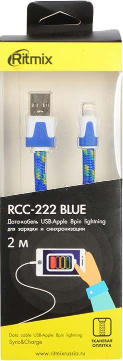 Кабель Ritmix RCC-222 Lightning 8pin-USB, 2 м, blue кабель lightning 8pin usb ritmix rcc 422 brown для синхронизации зарядки 1м нейлон опл мет коннекторы