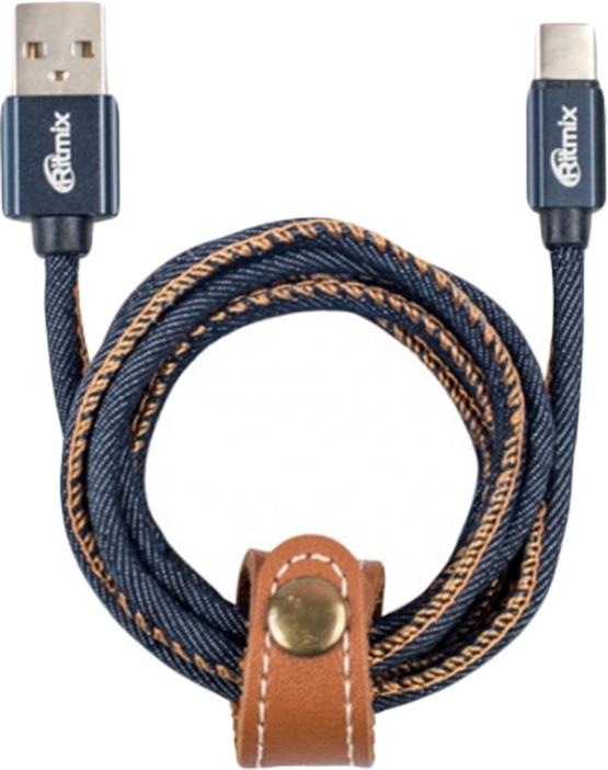 Кабель Ritmix RCC-437 Type-C-USB,1 м, blue jeans кабель ritmix rcc 162 usb usb 15119612 синий 1 8 м