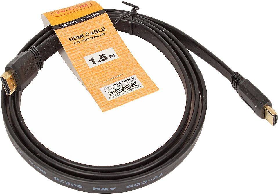 Кабель TV-COM HDMI 19M/M 1.4V, CG200F-1.5M, черный, 1,5 м кабель hdmi 19m m 1 4v плоский 5 м tv com cg200f 5m