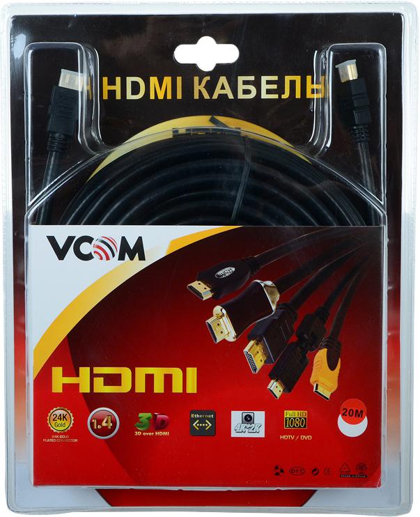 Кабель VCOM HDMI 19M/M 1.4 +3D, VHD6020D-20MB, 20 м цена