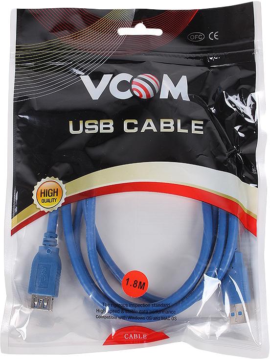 цена на Кабель удлинительный VCOM USB3.0 Am-Af, VUS7065-1.8M, 1,8 м