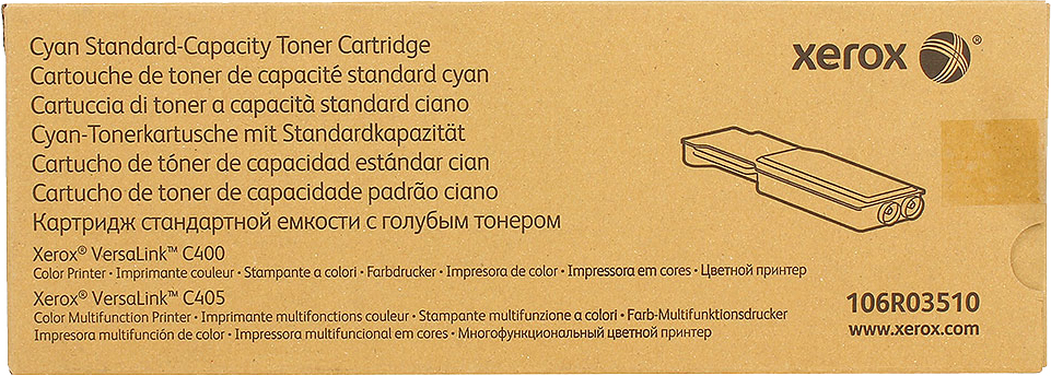Картридж Xerox 106R03510, голубой, для лазерного принтера, оригинал