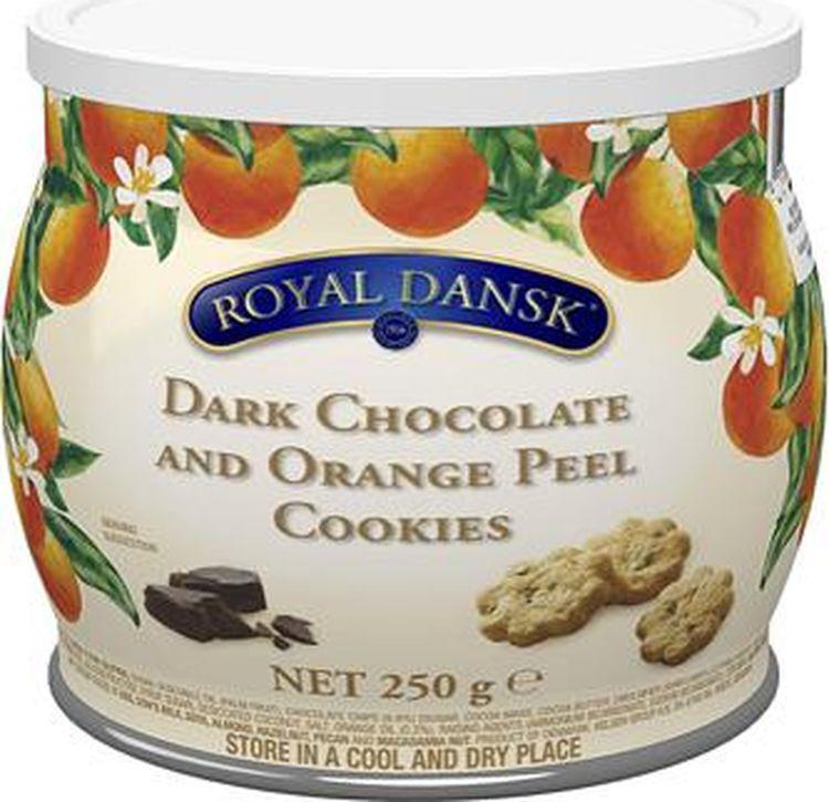 Печенье Kelsen Royal Dansk песочное с темным шоколадом и апельсином, 250 г сладкий новогодний подарок тройка 800 г