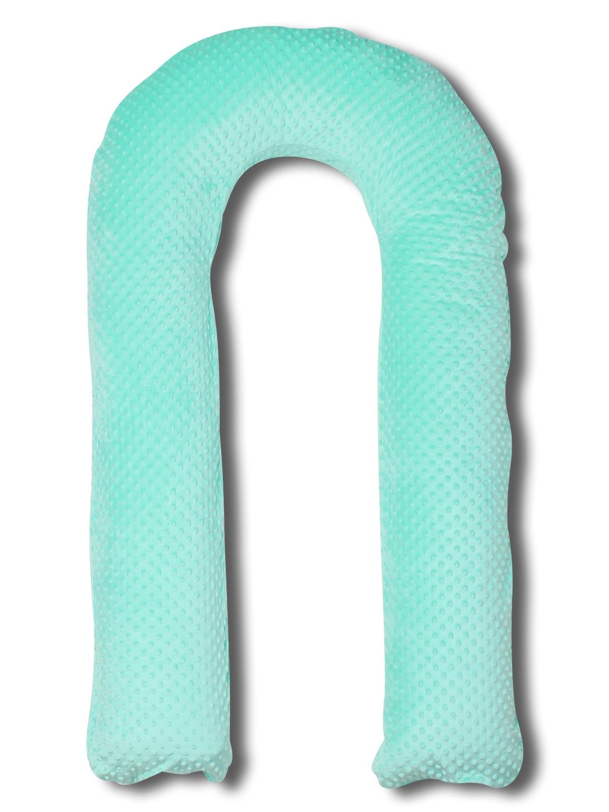 Подушка U 90х150 холлофайбер + чехол плюш мятный чехол на изголовье кровати из стиранного льна mereson