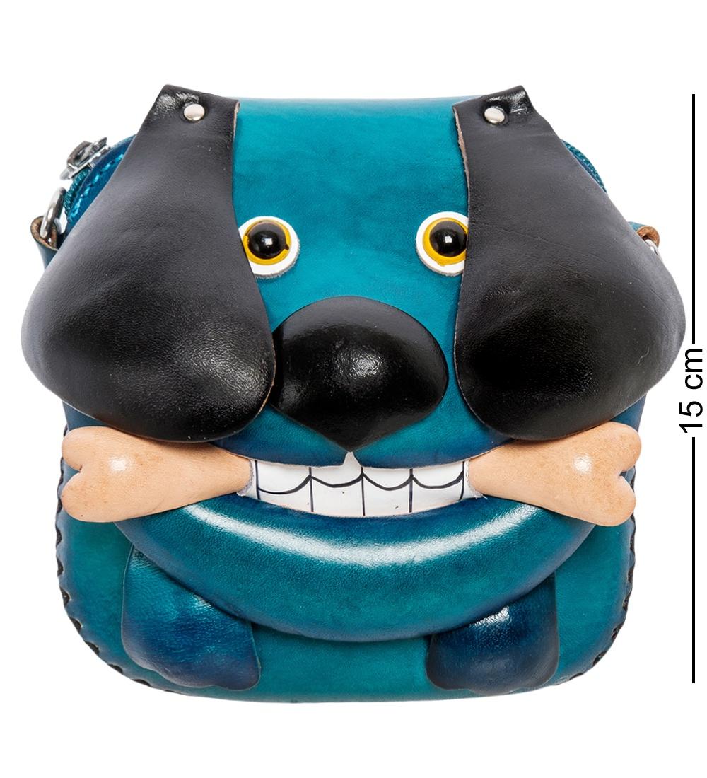 Сумочка кожаная Art East ''Собака'' 351250, синий, черный, 15 см цена