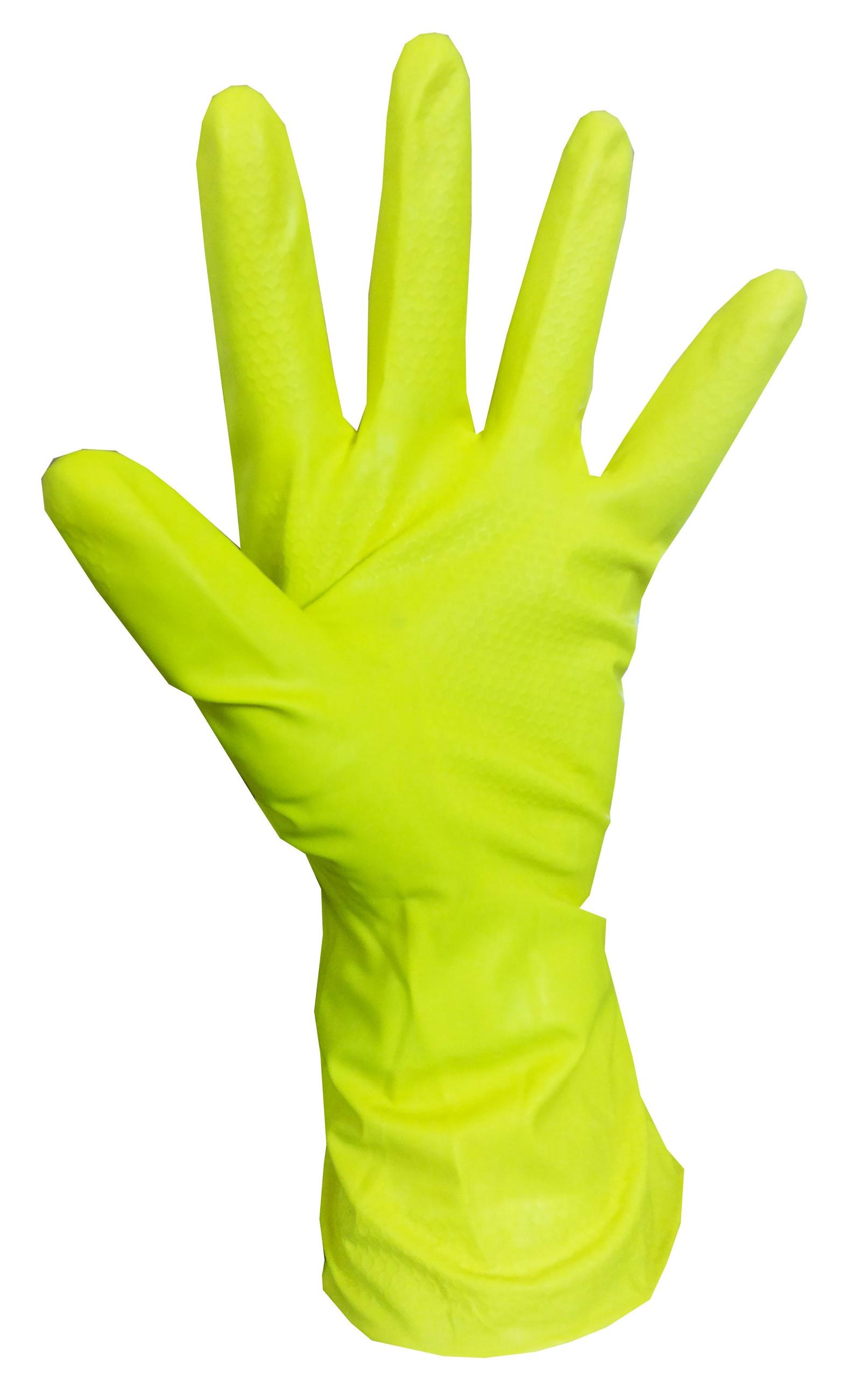 Хозяйственные латексные перчатки, желтые, размер M, 1 пара.