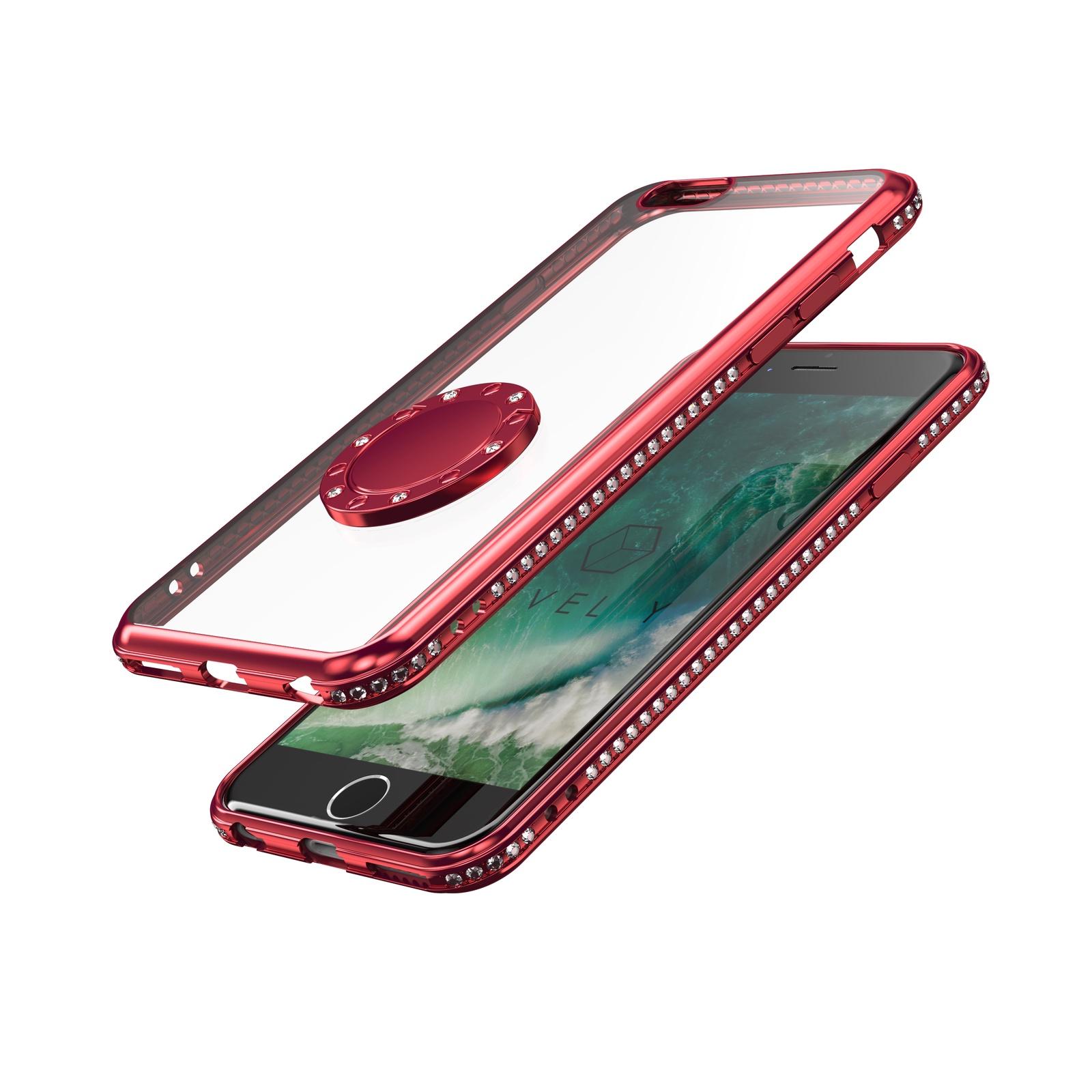 Чехол Level Y chrome border brilliant с кольцом держателем для Apple Iphone 6/6S, 4660041402834, красный pyramid fmk y 6s
