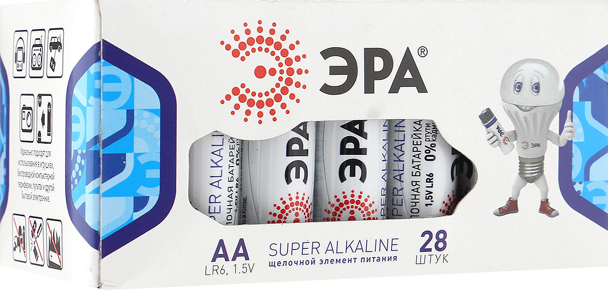 Батарейка алкалиновая ЭРА Energy, тип AA (LR6-28), 1,5В, 28 шт батарейка алкалиновая эра energy тип a27 1bl 12в