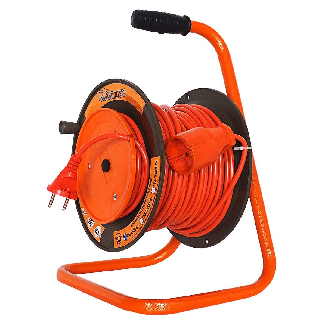 Удлинитель Glanzen на катушке EB-30-001 силовой 30м, оранжевый glanzen 20m eb 20 002
