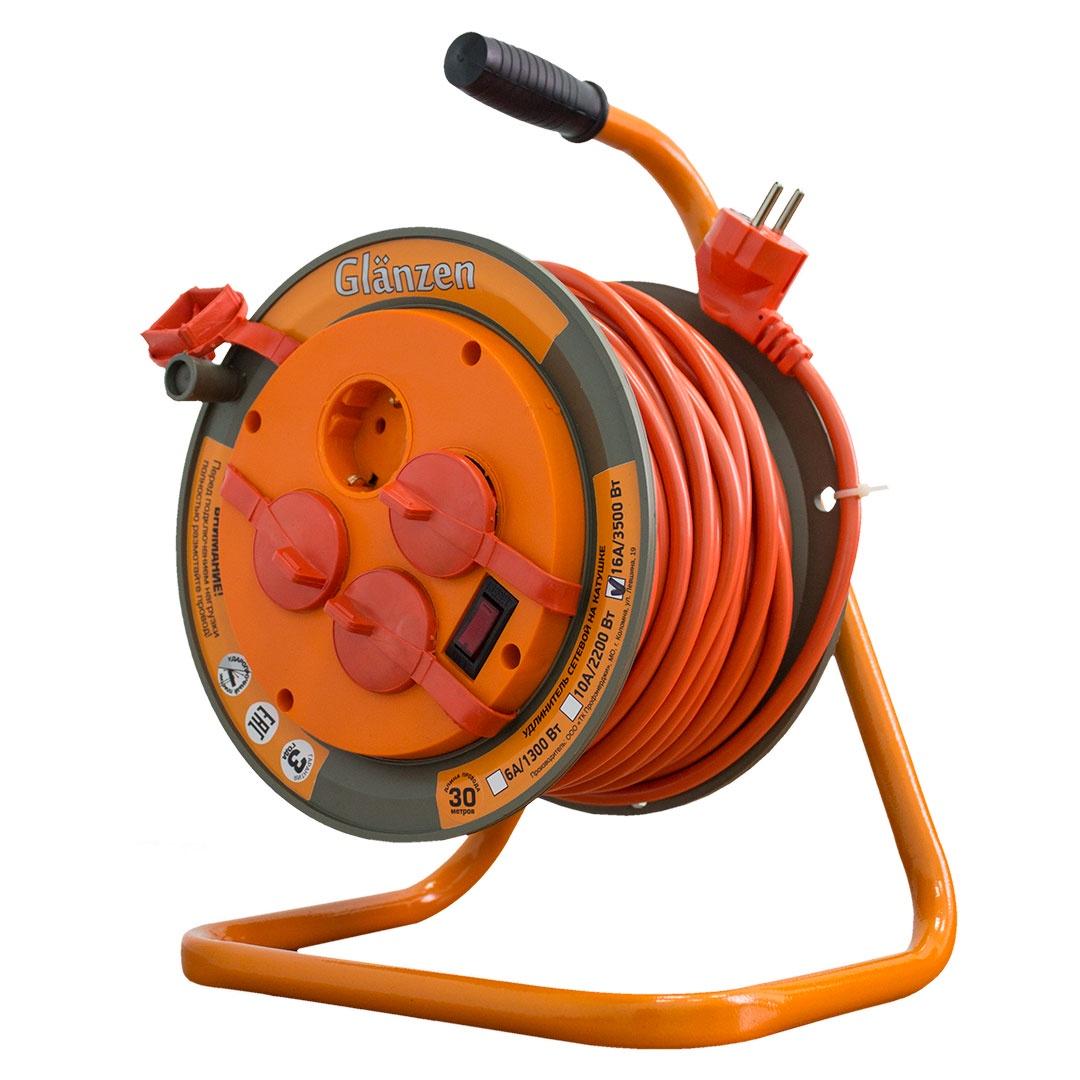 Удлинитель Glanzen на катушке EB-30-008 силовой 30м, оранжевый силовой удлинитель на катушке glanzen eb 30 004
