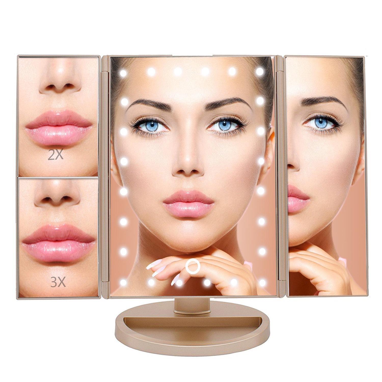 Настольное зеркало для макияжа VenusShape MI-GD с подсветкой, раскладное, золотой