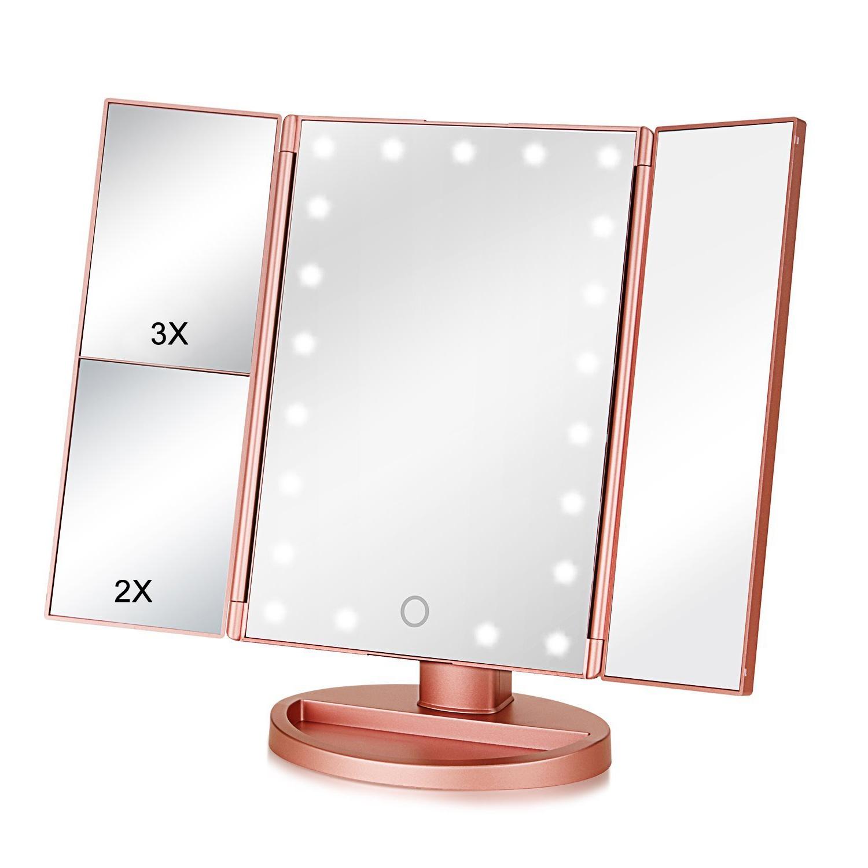 Настольное зеркало для макияжа VenusShape с подсветкой раскладное, Mi-Rs, розовый