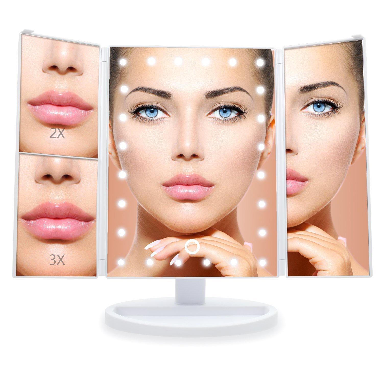 Настольное зеркало для макияжа VenusShape с подсветкой раскладное MIR-WT, белый