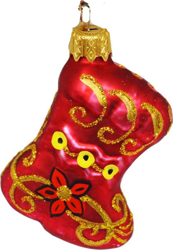 Елочная игрушка Сапожок Хохлома, ФУ-415/Х, 6 см елочное украшение баба яга в подарочной упаковке 12см