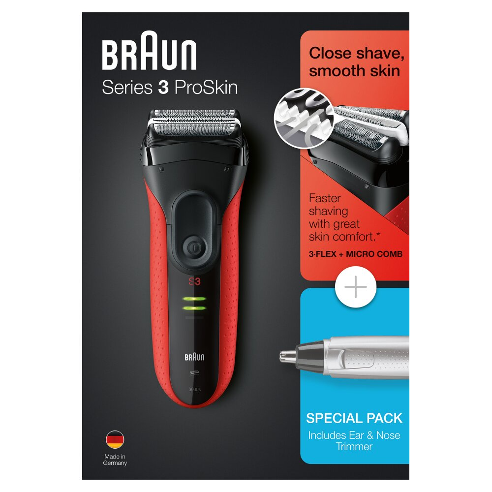 Электробритва Braun Series 3 ProSkin 3030s, 81640372, черный, красный