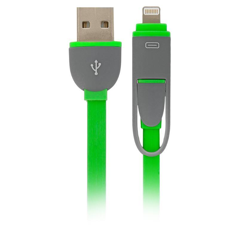 Кабель Defender USB кабель USB10-03BP зеленый MicroUSB+Lightning 1м, зеленый кабель microusb lightning 1м defender usb10 03bp плоский синий 87487