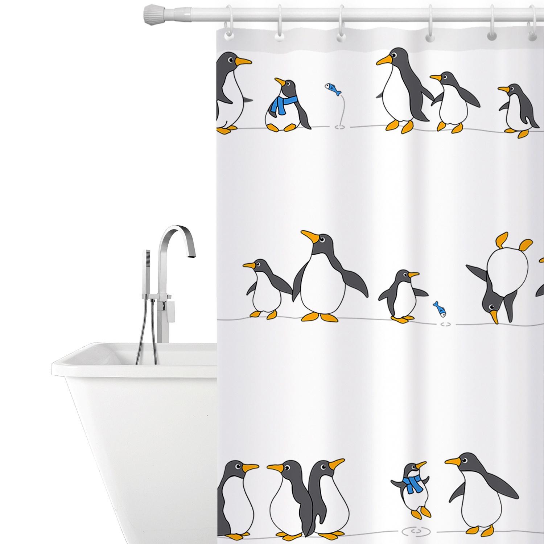 цена на PENGUINS Тканевая штора для ванной комнаты с кольцами (12 шт) 1800*1800