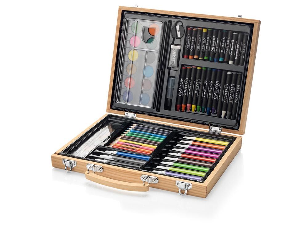 Набор для рисования в деревянном кейсе