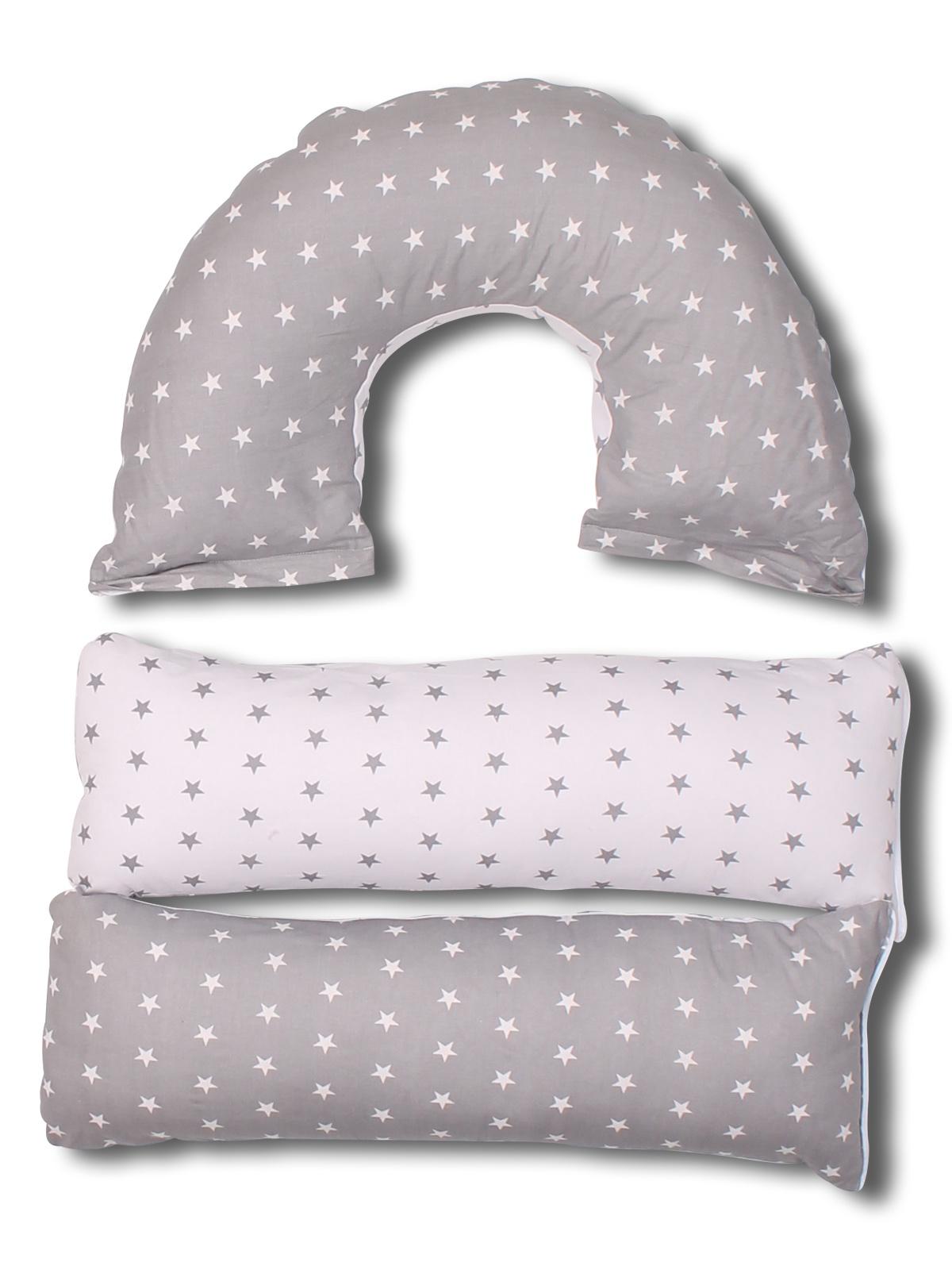 Подушка для кормящих и беременных BODY PILLOW Трансформер 5в1 комби, серый, белый
