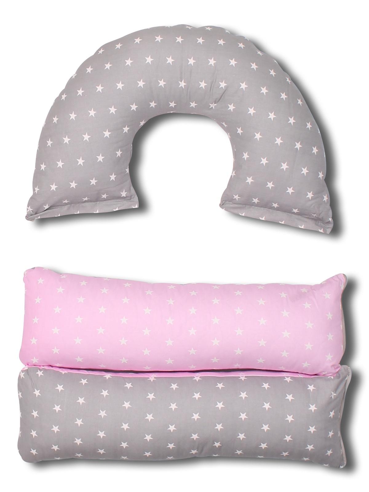 Подушка для кормящих и беременных BODY PILLOW Трансформер 5в1 комби, серый, розовый