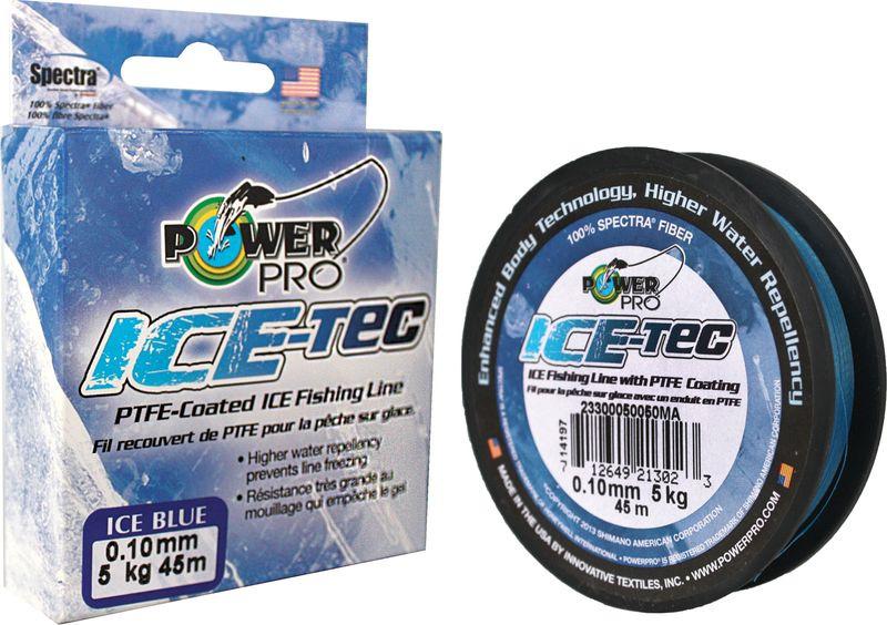 Леска плетеная Power Pro Ice-Tec, цвет: синий, 45 м, 0,10 мм, 5 кг