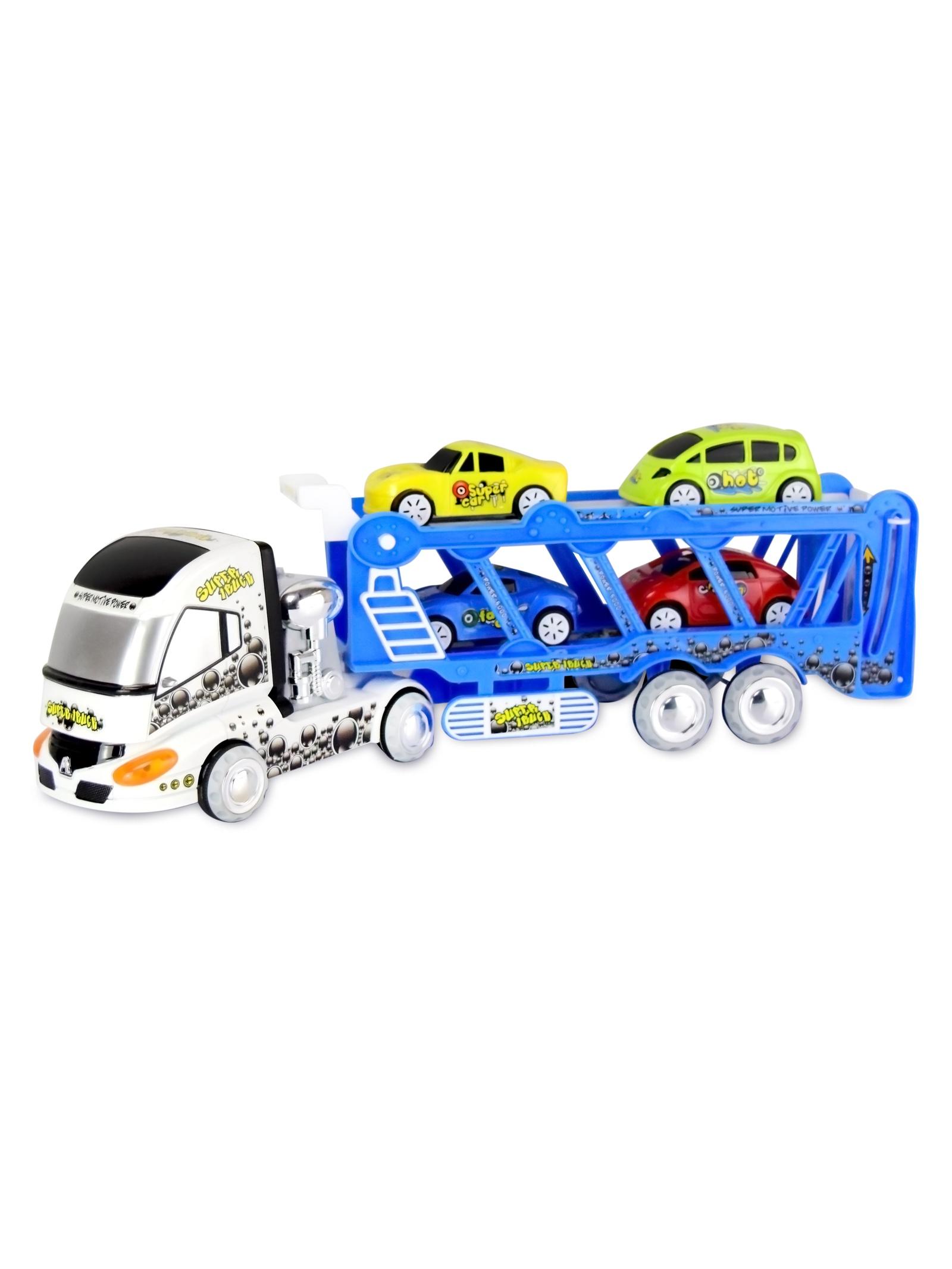 Трейлер с машинами JT Toys, 3315/синий подарок трейлер