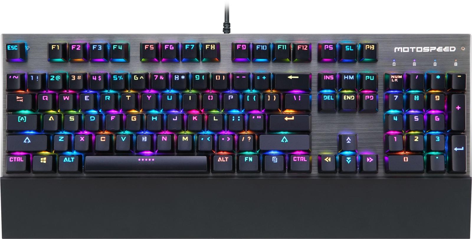 Игровая клавиатура Motospeed CK108 RGB yi бо е 3lue k751 шесть смешения цветов свет 104 механических клавиши клавиатуры черная красная ось