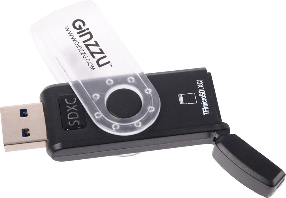 Картридер Ginzzu GR-322B с интерфейсом USB 3.0, SD/SDXC/SDHC/MMC и 2 x microSD/microSDXC/microSDHС, черный, блистер картридер внешний ginzzu gr 417ub sd sdhc sdxc microsd ms m2 3xusb hub черный