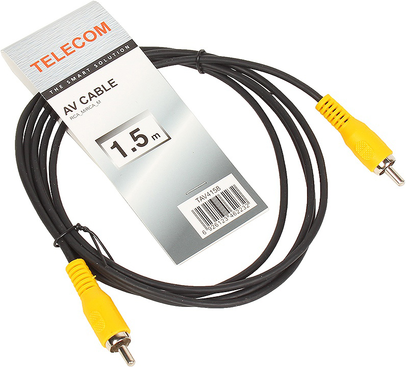 Кабель соединительный RCA (M) - RCA (M) черный 1,5m, Telecom кабель межблочный аналоговый rca audioquest tower 0 6 m