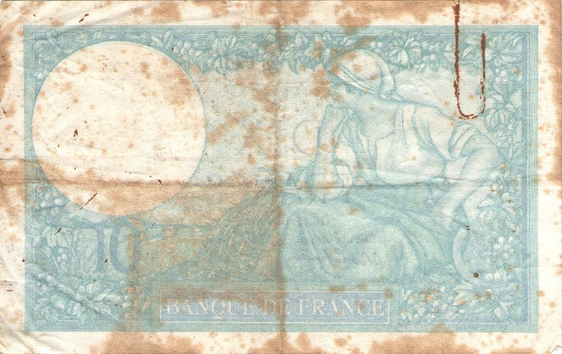 Банкнота номиналом 10 франков. Франция. 1939-1944 года