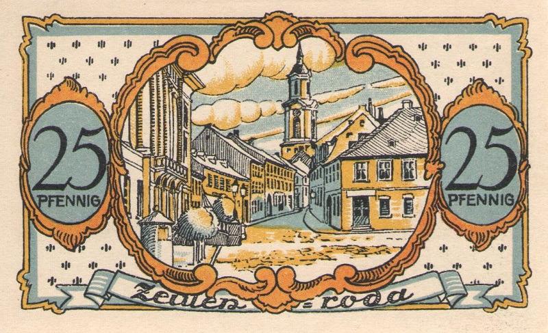 Нотгельд. 25 пфеннигов. Zeulenroda. Германия. 1921 годцойленрода25(1)