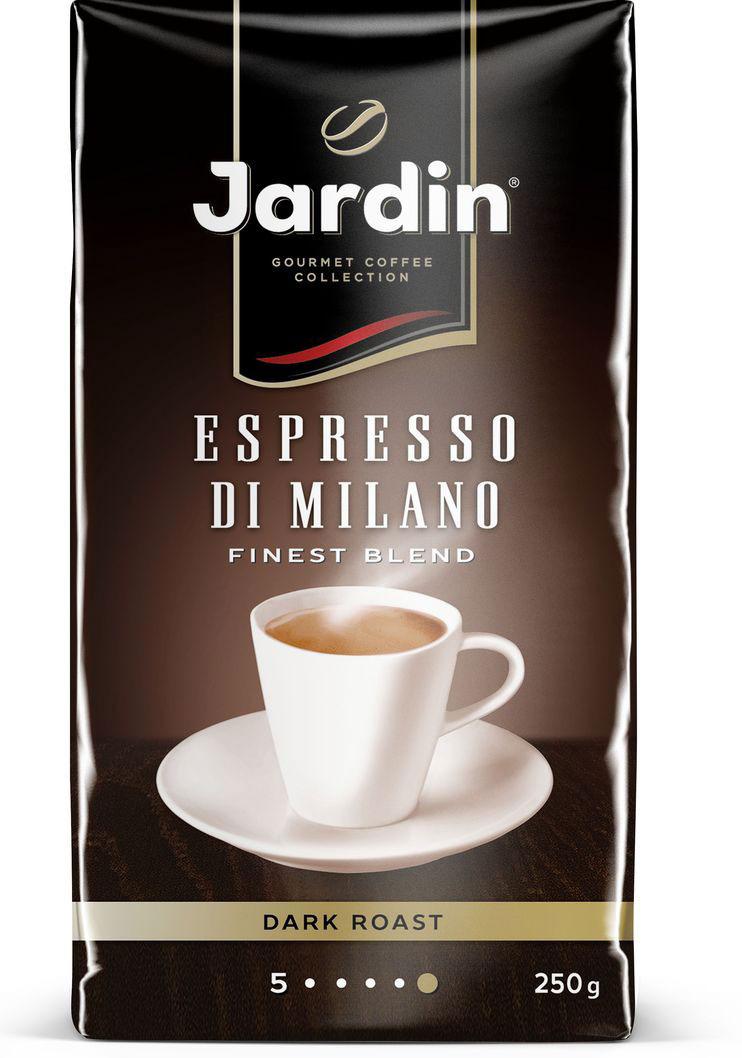 Jardin Espresso di Milano кофе молотый, 250 г melitta кофе bellacrema espresso молотый со стеклянной сахарницей в подарок 250 г