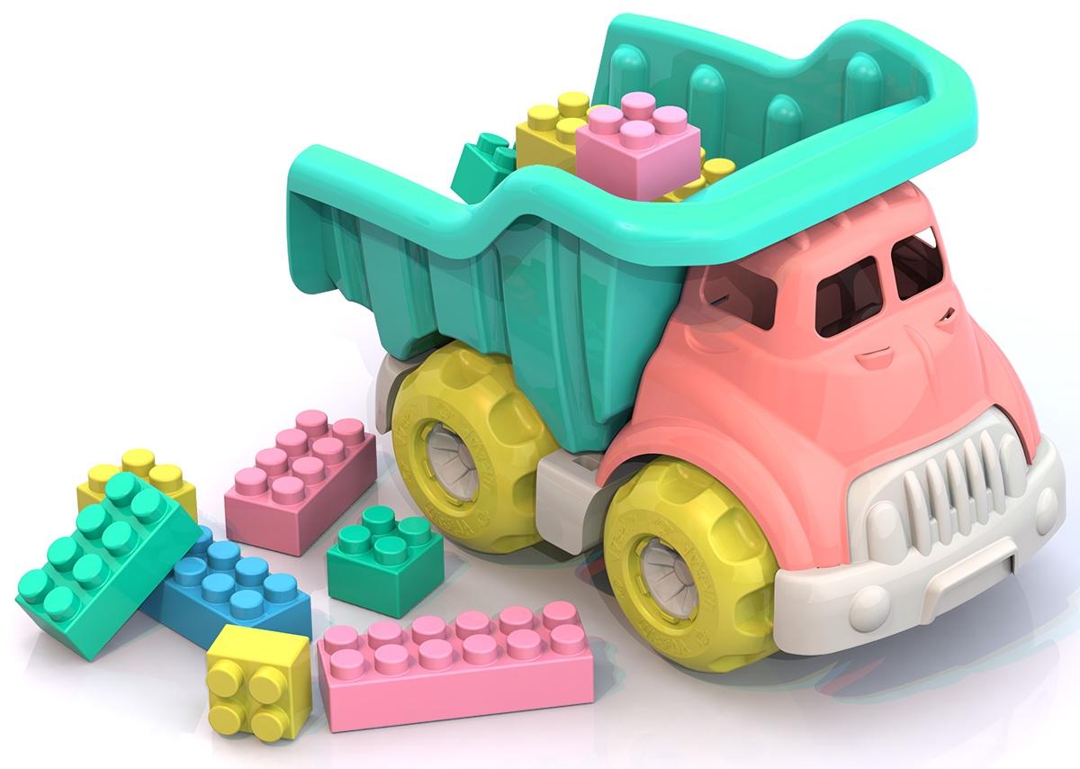 цена на Грузовик с конструктором Нордпласт Юни, ШКД35, розовый, салатовый, 270х175х185 мм