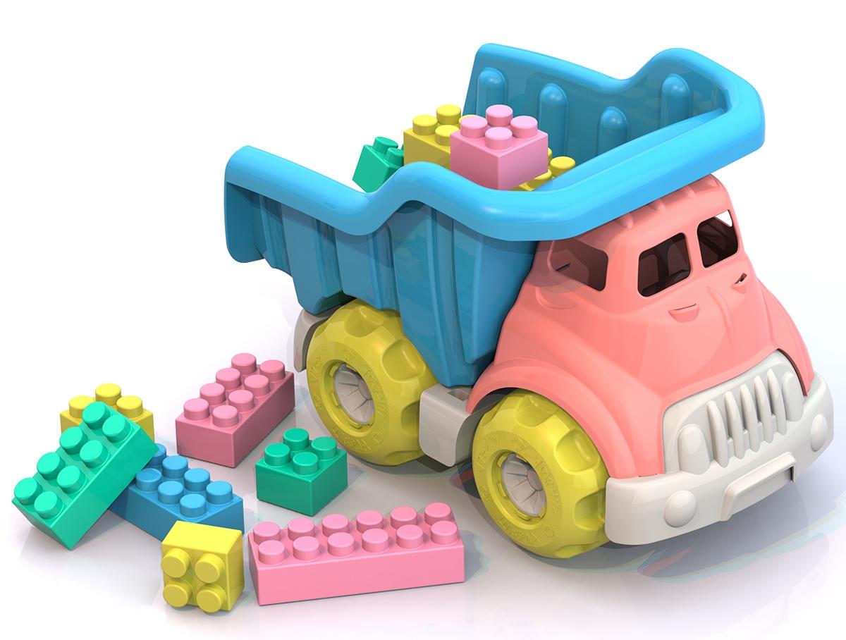 цена на Грузовик с конструктором Нордпласт Юни, ШКД35, розовый, голубой, 270х175х185 мм