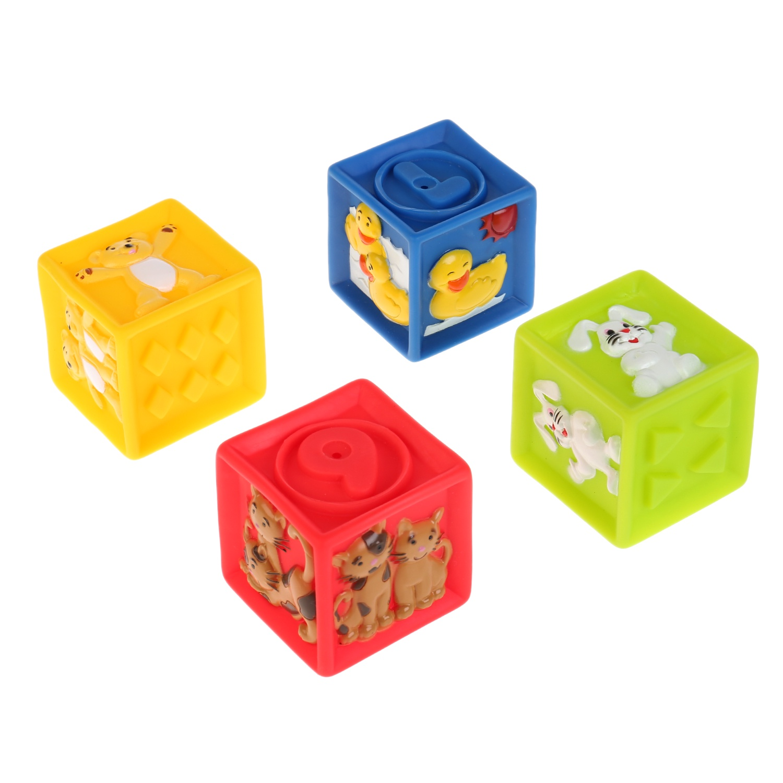 Игрушки для купания Играем вместе Кубики с животными 254480, 4 шт игрушки для ванны babymoov игрушка для купания кубики а104925