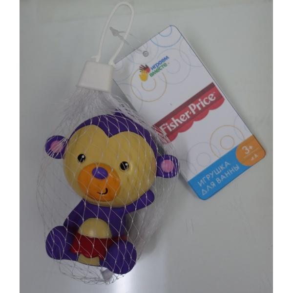 Игрушка для ванной Играем вместе Игрушки пластизоль для купания КАПИТОШКА Обезьянка Fisher-Price 8,7см в сетке фиолетовый игрушки для ванны babymoov игрушка для купания кубики а104925