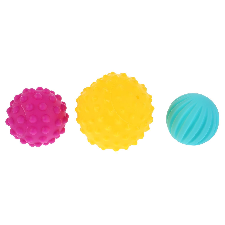 Игрушка для ванной Капитошка Игрушки пластизоль массажные мячики с разной фактурой 3шт в сетке (русс уп)