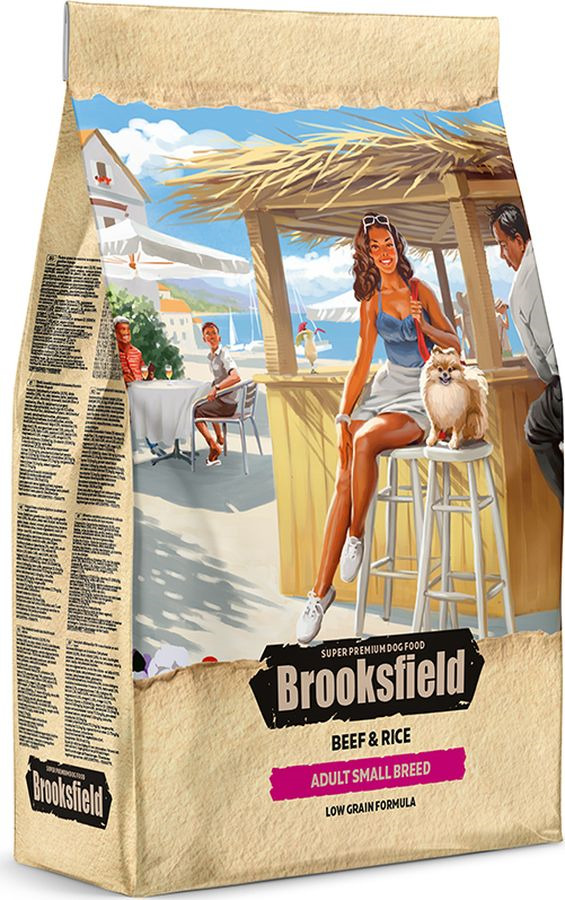 Корм сухой Brooksfield Adult Dog Small Breed, для взрослых собак мелких пород, говядина, рис, 800 г