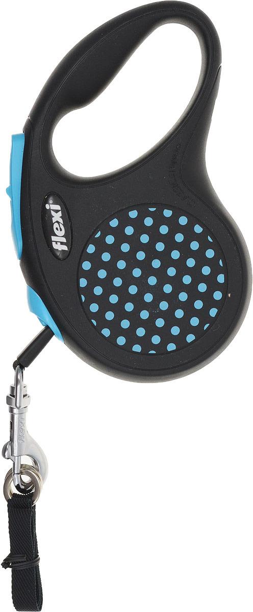 """Поводок-рулетка Flexi """"Design S"""" для собак до 15 кг, цвет: черный, голубой, 5 м"""