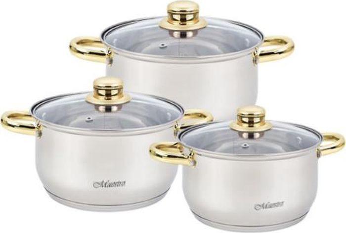 Набор посуды Maestro, MR-2006-6M, серебристый, 6 предметов набор посуды maestro mr 2220 6l