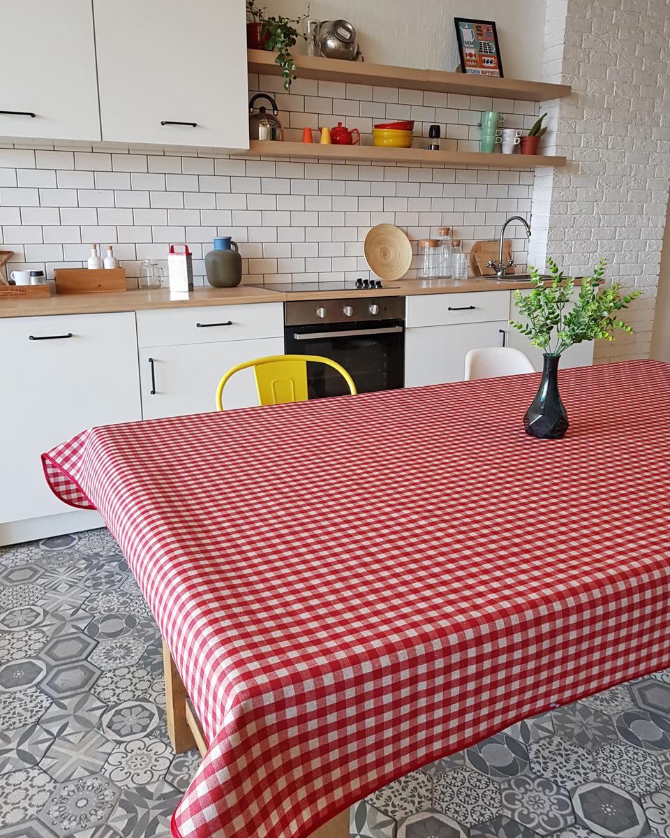 Скатерть Mori Tinto Vichy, 7113, красный, 140 х 200 см