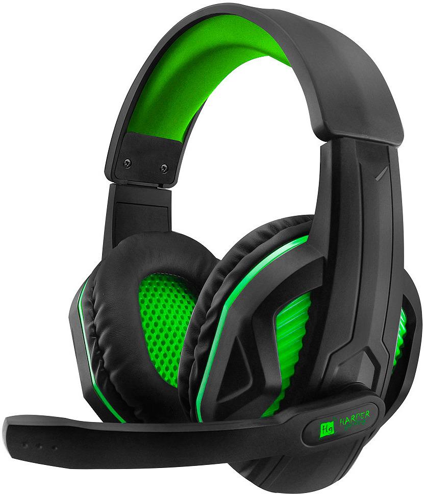 Игровые наушники Harper Gaming Mirro, GHS-R100, черный, зеленый