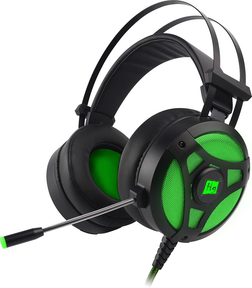 Игровые наушники Harper Gaming Hellfire, GHS-X10, черный, зеленый