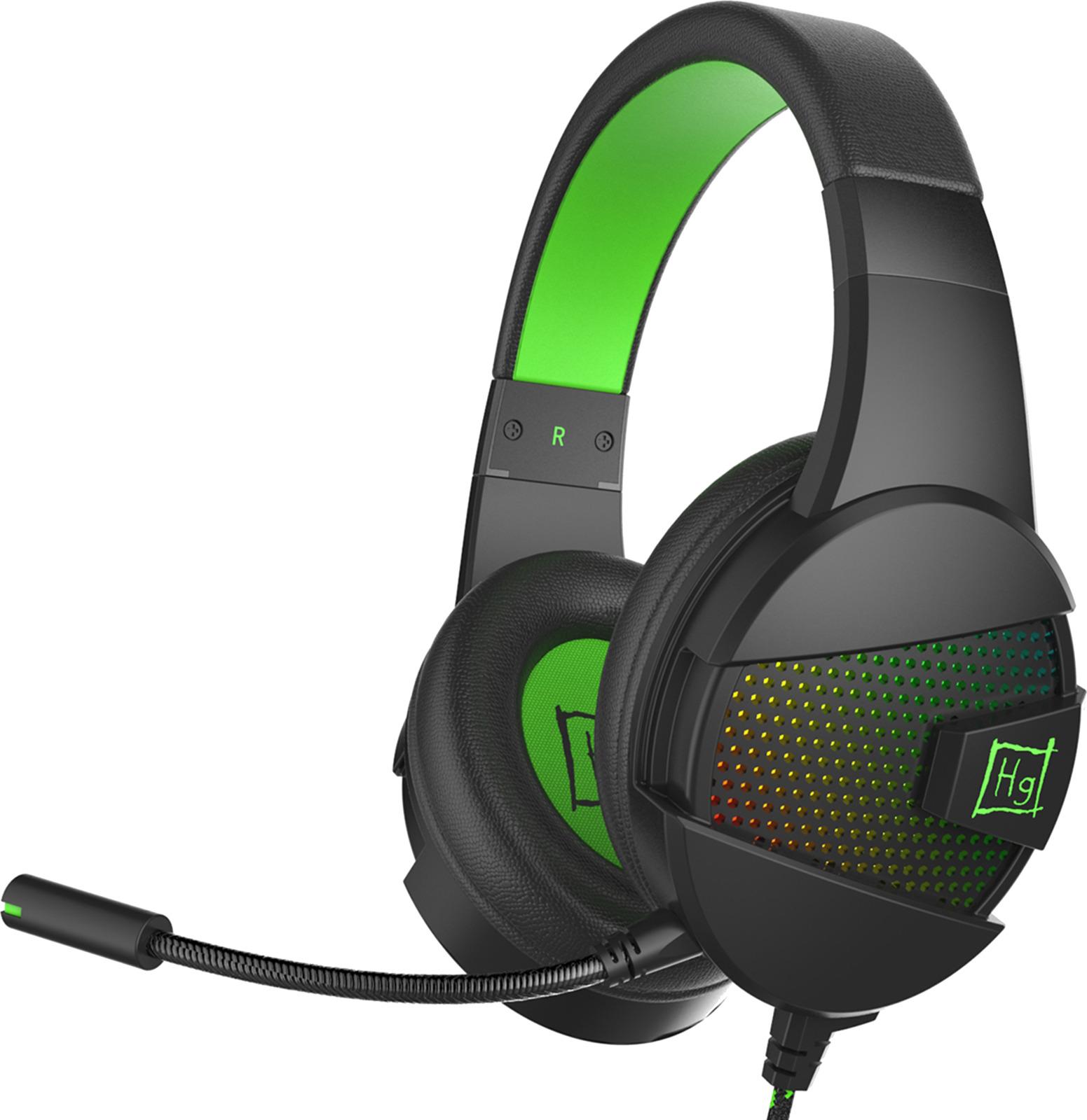 Игровые наушники Harper Gaming Raster, GHS-X15, черный, зеленый
