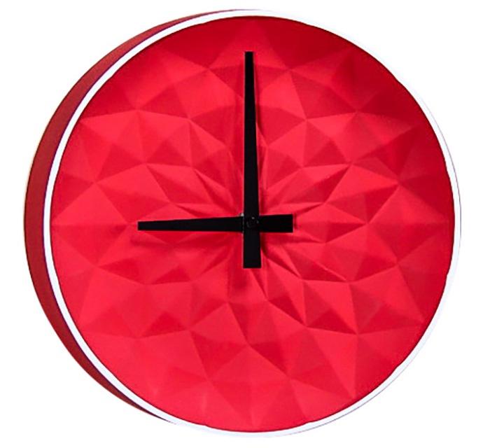 Часы настенные керамические, круглые, размер 25.5*25.5*5.5 см, красные