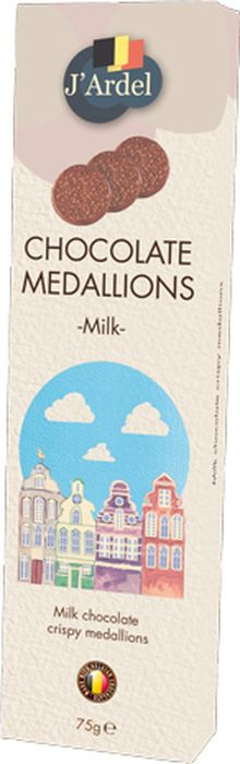 Медальоны J'Ardel из молочного шоколада, с воздушным рисом, 75 г gbs конфеты фигурные из молочного шоколада с воздушным рисом и вкусом карамели 75 г