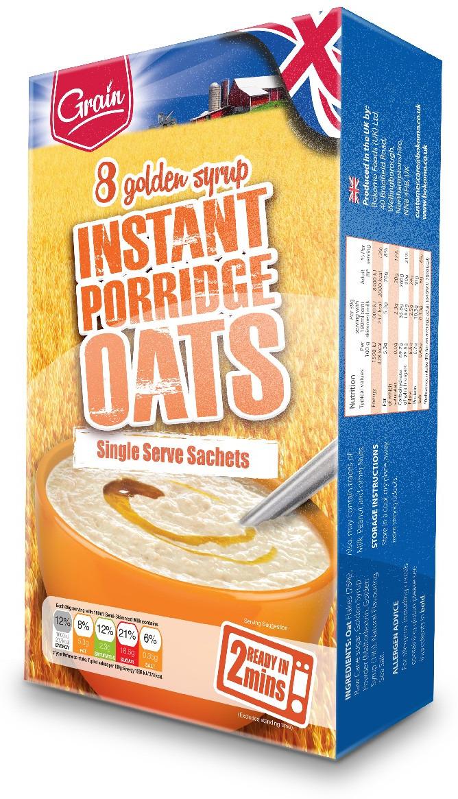 Каша быстрого приготовления Grain, с золотым сиропом, 8 пакетиков по 39 г еда быстрого приготовления